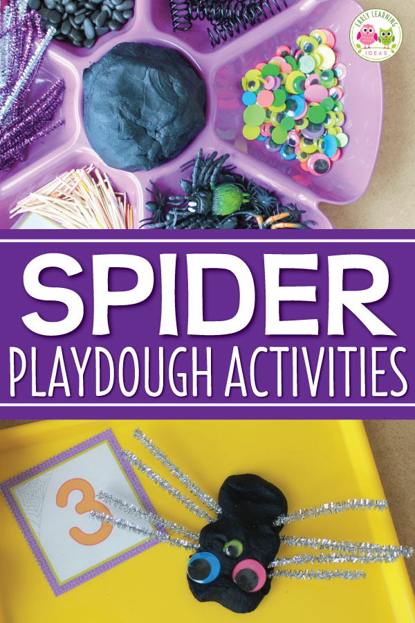 Looking for fun spider theme playdough activities for your kids? Make black playdough and use the materials ideas to make a spider invitation to play.   These materials are perfect to create an engaging fine motor and open-ended creative activity for children.  Simple ideas for math learning extensions are included.  A perfect hands-on learning activity for your spider theme or Halloween theme unit and lesson plans in your preschool or pre-k classroom. #playdough  #spideractivities