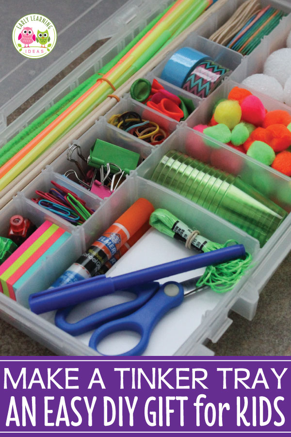 Are you looking for a simple DIY gift for kids?  Make a fun DIY tinker tray box for them.  These tinker boxes are perfect gift for a child in preschool or early elementary.  It will encourage creativity.  Kids will create process art or their own stem activities.  Material ideas are included.  Make a fun Christmas present, holiday gift, or birthday gif.  Use the material list as inspiration to create STEM drawers or tinker drawers in your preschool classroom.  #tinkertray  #DIYchristmasgift