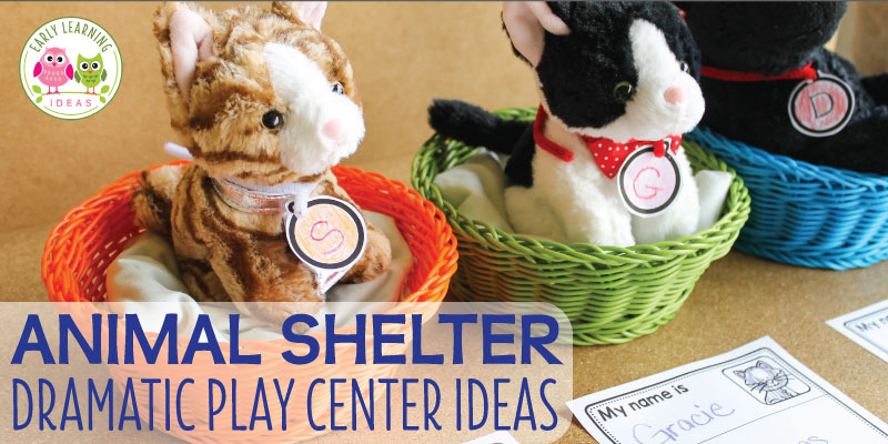 Are you looking for fun ideas for the dramatic play area in your preschool classroom? Learn how to set up an animal shelter dramatic play area. Ideas for props, dress up clothes, literacy opportunities, and a free printable collar tag are included. This is a perfect addition to your pet theme, animal theme, or community helper theme unit and lesson plans. Teach kids about the importance of animal adoption and the role of animal shelters in our community. #preschool #dramaticplay #prek