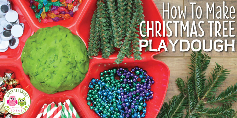 Learn how to easily make Christmas tree playdough that your kids will love. This DIY play dough adds a wonderful senosry experience to your holiday fine motor activities. Get out your cookie cutters and rolling pins. This easy homemade play doh recipe is perfect for fun kids crafts and activities in your preschool, pre-k and kindergareten classroom. #playdough #playdoughrecipe #finemotor #christmasactivities #preschool