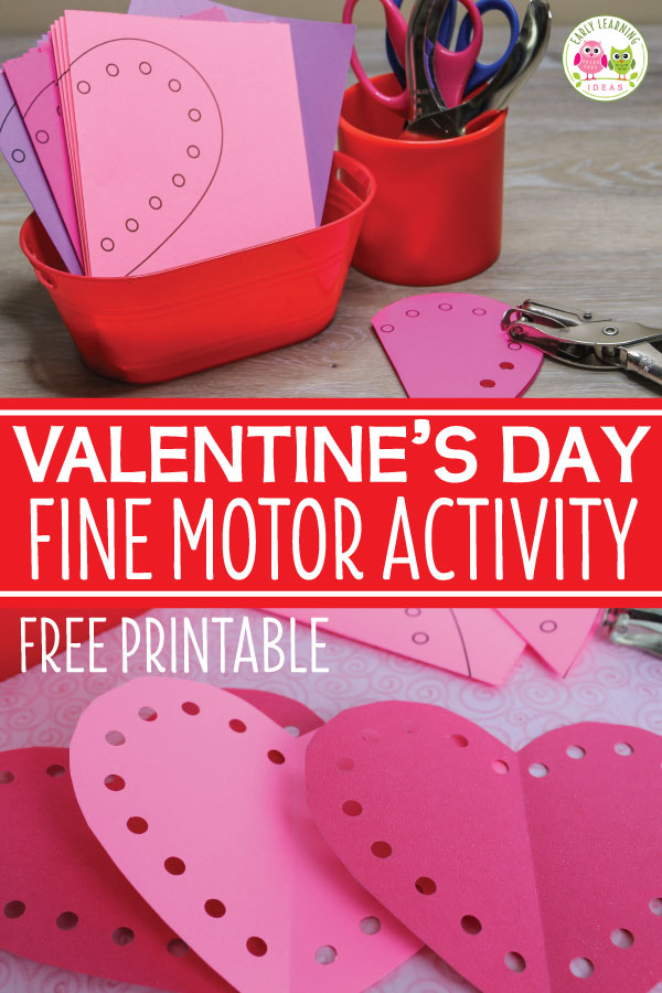 Are you looking for a fun Valentine's Day activity for kids? Use this free printable for fine motor and scissor skills practice. Kids can cut out paper hearts and use a hole punch to complete them. Perfect for your preschool, pre-k, kindergarten, or SPED classroom. A great addition to your Valentine's Day theme or February theme units or lesson plans. Use to decorate your room or even as a Valentine party activity. #preschool #Valentinesdayactivities #finemotor #scissorskills
