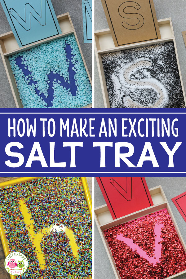 Help kids who are learning the alphabet work on letter formation with a simple DIY salt tray. Increase their excitement and sensory input with these creative ideas for materials and mix-ins.  Salt trays are a great fine motor activity and a low-stress way to work on writing letters...even for kids with low fine-motor skills.  Here are tons of ideas for products and materials to use to make fun writing activities for your preschool and pre-k classroom #preschool #alphabetactivities #finemotor