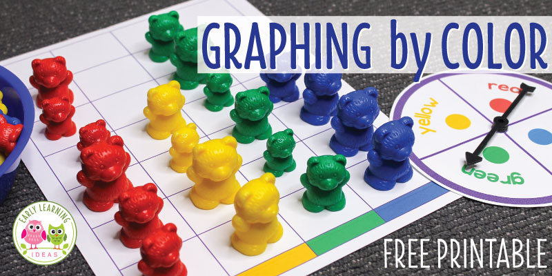 Use these free printables in your math centers in your preschool, pre-k and kindergarten classroom. Kids will love this bear color graph set to work on early math skills. Several math games and activity ideas are included.  Kids will have fun will learning colors identification, color sorting, counting, and number comparison.  Perfect for your bear or hibernation themed unit or lessons plans, but can be adapted for any theme or used with different types of counters. #preschool #preschoolmath