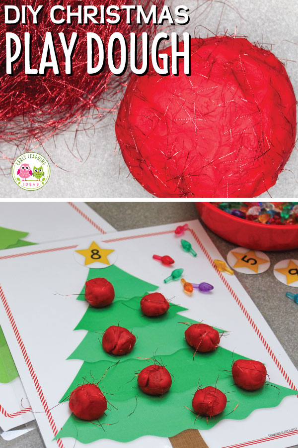 Learn how to easily make Christmas tree playdough that your kids will love. This DIY play dough adds a wonderful sensory experience to your holiday fine motor activities. Get out your cookie cutters and rolling pins. This easy homemade play doh recipe is perfect for fun kids crafts and activities in your preschool, pre-k and kindergarten classroom. #playdough #playdoughrecipe #finemotor #christmasactivities #preschool
