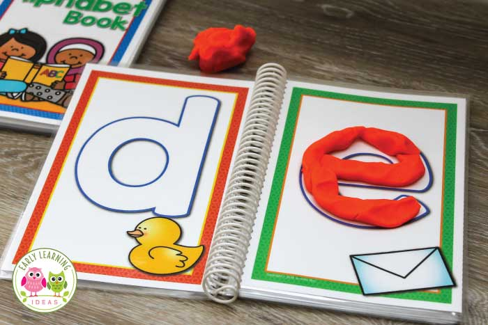 Use printable alphabet playdough mats to work on letter recognition, letter formation, and letter sounds in a fun, playful way. Kids will have so much fun, they won't realize they are learning and strengthening fine motor skills. Perfect for your literacy centers and activities in preschool and pre-k. Don't let kids get bored by just these printable with just playdough....use them with loose parts. with salt trays, etc... many ideas included. Make an alphabet book too! #preschool #playdough