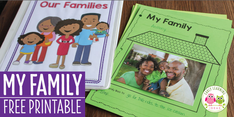 Find activities and ideas for your My Family or All about Me theme unit or lesson plans in your preschool or pre-k classroom. Kids can draw pictures or add a photo of their family on this free printable activity sheet. Use as a take-home activity to get parents involved. Display on the bulletin board or bind all your students' pages together to make a class book to share at circle time or leave in your class library. Use at Thanksgiving or during the first week too. #preschool