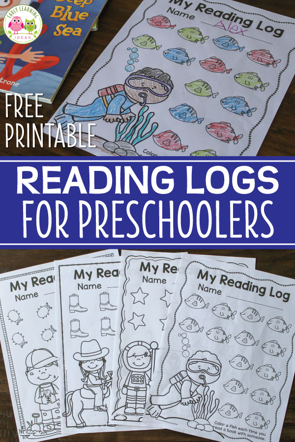 Use these free printable preschool reading logs to encourage kids to track their reading at home. The preschool printables can be used at any time of year. A perfect homework or take home activity for preschool and pre-k children. Kids can color one of the 14 objects for each book that they read...the time period for each log is flexible...monthly weekly, etc. Western theme, space theme, ocean theme, and insect theme are included. Attach this simple idea to your next parent communication.