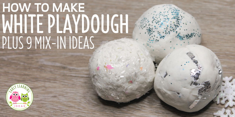 Looking for winter fine motor activities ideas for your kids? Learn how to make bright white playdough. I also give you a bunch of ideas for creative mix-ins....from glitter to foil. These winter white play dough recipes will be perfect for your learning activities, play dough mats and playdough tray in your preschool or pre-k classroom. Your kids will love this sensory dough for the snowman and wintery creations. #preschool #playdough #finemotor