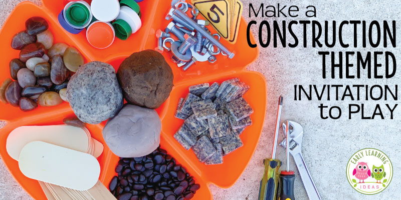 Learn how to gather a bunch of materials to create a construction themed playdough tray. You will find LOTS of ideas for materials to use. Your kids will love this thematic invitation to play. It's perfect for your construction theme or building theme unit and lesson plans in your preschool or pre-k classroom. Use the tray for a fine motor and/or sensory activity, but there are also ideas to mix in hands-on engaging math and literacy activities as well. #playdough