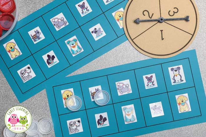 Math games for preschoolers are a great way to help with teaching numbers to early addition. Here is a simple ten frame game (with free printables) that kids love to play. The early childhood math games are perfect for your math center in preschool, pre-k, and kindergarten. Customize the game for any season spring, summer, fall or winter. The game pictured is frog themed, but it can be customized for any theme unit or lessons plans in your classroom (like an animal theme). #preschoolmath