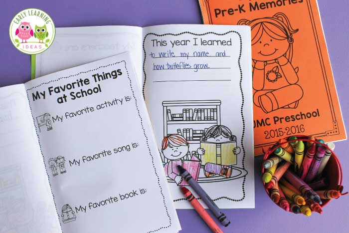 You, your kids, and their parents will love these preschool memory books. They are the perfect end of the school year activity for your preschool, pre-k, or kindergarten classroom. The printable end of year books include many options and editable pages. Adapt and customize the keepsake activity to meet your needs. #endofyear #preschool #endofschoolyear