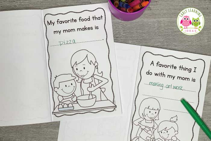 Are you looking for Preschool Mothers Day gift ideas for your children to make? Here is a simple printable book that will be a special keepsake for mom. Easier than crafts or big projects and better than cards, these gifts require no special supplies. Print the books, help kids fill in the questions, and kids can color and add their own art. A perfect literacy and fine motor activity for your preschool, pre-k, or kindergarten classroom. #mothersdaygiftideas #preschool
