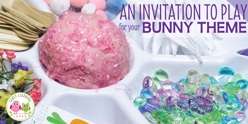 Make cool textured playdough and a fun bunny-themed invitation to play. Your kids will love this bunny-themed Easter playdough activity. This is the perfect fine motor activity for your kids in preschool and pre-k classroom. There are lots of material ideas that will help you make a fun open-ended, creative activity for your play dough center or table. Perfect for your pets theme, bunny theme, Easter theme, or spring theme unit and lesson plans #playdough #easteractivities