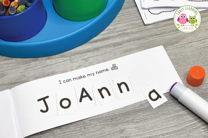 This page of the name writing book is pretty blank and kids can glue printable letter squares onto the page.