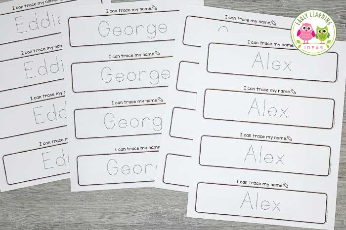 Print the same name onto 4 tracing pages. Use it as a sign-in sheet when your kids arrive every morning. Place them in a binder and you will have a record of how your kids have progressed.