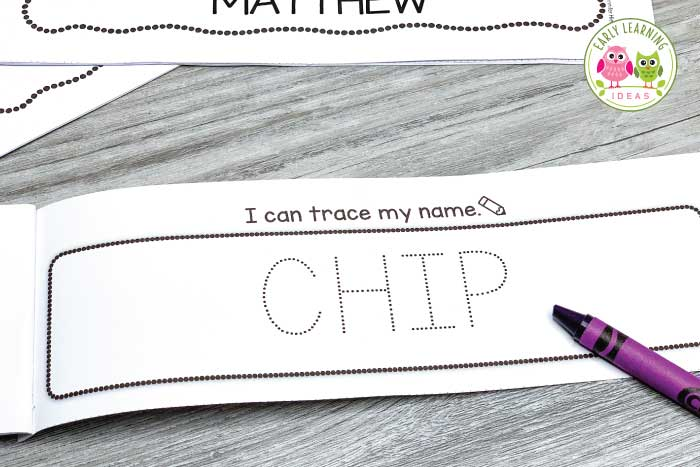 On this page of the name book, kids can trace the dotted letters of their names.