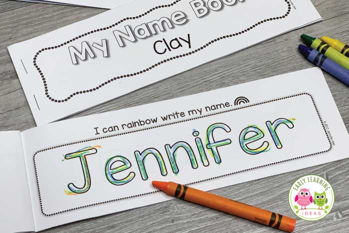 The name writing activity book includes a rainbow writing page.