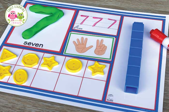 Use these 1-20 number activity mats to help your kids in preschool, pre-k and kindergarten learn counting, number recognition, one-to-one correspondence, and number sense.  The mats are a great multi-sensory tool that your kids will love. There are so many ways to explore numbers on just one page. Use playdough to form numerals, trace the dotted numbers, represent the number with finger-counting cards, ten frame, and build the number with counting cubes. #preschoolmath #prekmath #kindergarten