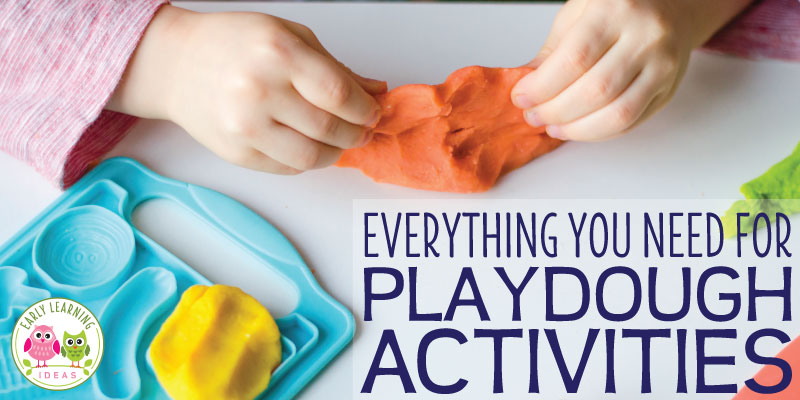 Find everything you need for playdough activities in your classroom or. Learn about the benefits of playdough, the best playdough tools, ideas for mix-ins, ideas for invitations to play, plus find printable playdough mats. A great resource to get ideas for your playdough center or station in your preschool or pre-k classroom, or if you want to get fresh ideas for fine motor or sensory activities. #playdough #preschoolactivities