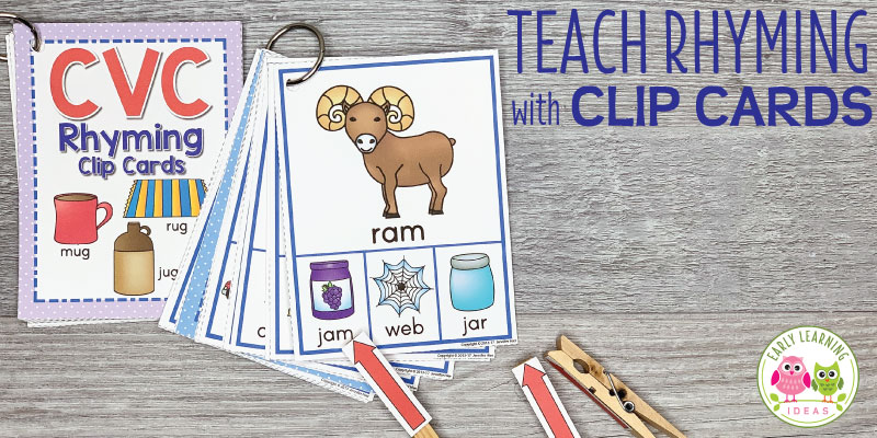 These rhyming clip cards will help your kids see and hear rhymes in simple CVC words. Kids love clipping clothespins on the rhyming words in this activity. Perfect for small group or independent activities in your preschool, pre-k, kindergarten, or SPED classroom. An engaging way to teach rhyming, early literacy concepts, and phonological awareness to young children. #rhymingactivities