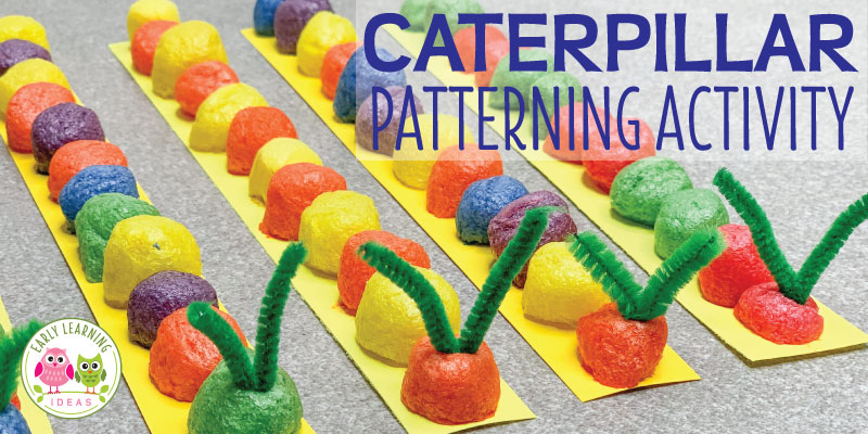 This cute caterpillar pattern activity combines fine motor skills, math, and craft. Your kids will enjoy creating patterns and counting as they make caterpillars. This is a great patterning activity for your bugs & insects theme, butterfly & caterpillar theme, or spring theme units and lesson plans in your preschool or pre-k classroom. Works well when studying caterpillar life cycles and it's a perfect addition to a study of the Very Hungry Caterpillar by Eric Carle. #preschoolactivities