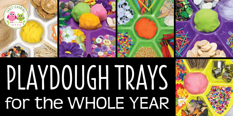Find LOTS of ideas to put together simple playdough trays for the whole year...spring, summer, winter, and fall. Your kids will love the unique materials in these playdough invitations to play. Tons of ideas for many themes and all seasons. Playdough trays make great sensory and fine motor skills activity....a fun hands-on learning activity. These ideas are great for your preschool, pre-k or kindergarten classrooms #preschool #playdough