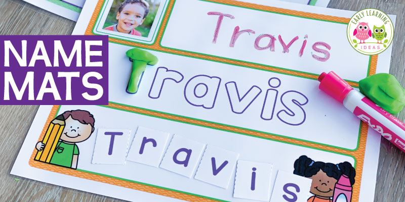 There are so many ways that your kids can work on name practice with these editable name activity mats. Perfect for early childhood, preschool, and pre-k classroom, this is a fun way to work on name recognition, the alphabet, letter sounds, spelling their names, handwriting practice, fine motor skills...etc.. You can even include pictures. Use for back to school, the beginning of the school year, an all about me theme unit or lesson plans. #preschool #nameactivities #backtoschool