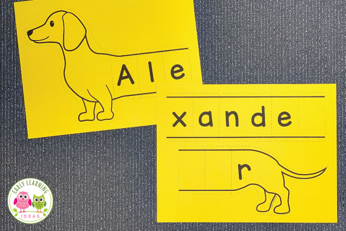 Use these fun wiener dog printable name puzzles to work on name recognition, spelling, and a variety of literacy activities with your kids. Use these editable name activities for your pets theme or animals theme unit or lesson plans in your preschool or pre-k classroom. The dachshunds are perfect for a bulletin board, busy bag activity, or for a literacy center. Customize the dogs with names, sight words, or spelling words. #nameactivities #preschool #pettheme