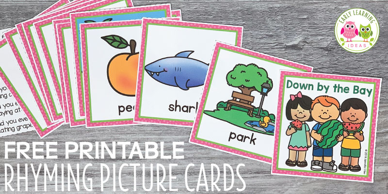 Use these free rhyming picture cards with the Down By The Bay song. Kids love matching the rhymes on the cards and using them to extend the classic song during circle time. Use with the song, book, or use them for matching activities....a fun way for teaching rhymes. The free printables are perfect for your preschool, SPED, pre-k, or kindergarten classroom....a silly way to introduce the early literacy concept of rhyming to young kids. #rhymingactivities #preschool