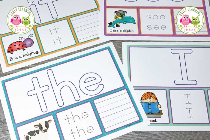 These sight word activity mats provide many ways to practice and learn sight words. More than just playdough mats, these mats are an interactive tool that includes writing words, building words, finding words in sentences....your kids will love this learning activity. Dolch primer, Dolch pre-primer, and Fry sight word lists are available. These no-prep printables are perfect word work activities for older preschool, pre-k, or kindergarten classroom or struggling readers. #sightwords