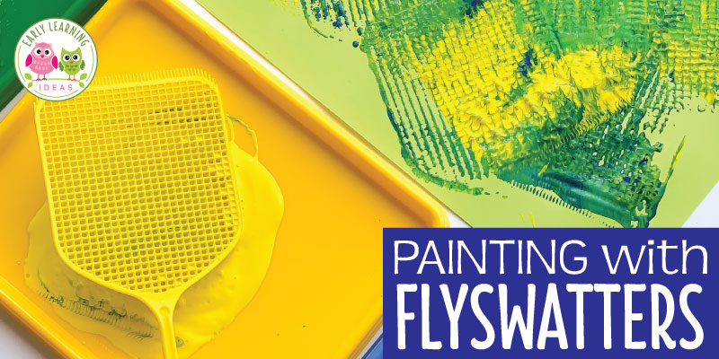 A flyswatter plus paint equals easy art for preschoolers. Your kids will love painting with these non-traditional paint brushes on this fun process art project. Perfect for an insect theme, bugs theme, and summer theme unit and lesson plans in your preschool or pre-k classroom. I love using the open-ended art project as a fun and simple way to explore mixing colors. #processart #preschoolart #openendedart