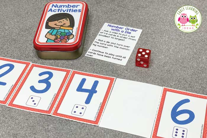 Add these free printable 1-12 number cards, counters, & dice to an empty mint tin or soap container to create fun math activities for your classroom. Perfect for preschool or pre-k, you can use the printables with your kids for a variety of math learning & counting activities. Ideas for learning games and activities are included. Use for your math centers and stations, as a take-home activity, as a screen-free activity at restaurants, or as a student gift. #preschoolmath #counting