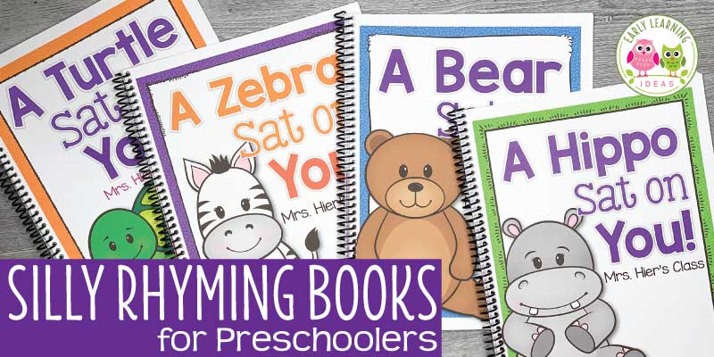 Repeated exposure to rhyming activities helps build this important early literacy skill. Here are many activity ideas for teaching rhyme. From games, books, songs, fingerplays, printables, there are lots of ideas to play with words and build phonological awareness with your preschool and pre-k kids. Fun, silly, funny....young children love rhyming activities at circle time. More than nursery rhymes and Dr. Seuss. Your kids will love these teaching ideas. #preschool #rhymingactivities