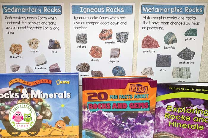 Create a geology lab dramatic play center in your preschool, prek, or kindergarten classroom. Combine science, math, and literacy in a developmentally appropriate way with these fun play-based ideas. Kids love the pretend play....they won't even that they are learning. Sensory play, and fine motor skills activity ideas are included. This is a perfect addition to your rocks theme. Use the printables in your dramatic play area or in your science learning center. #dramaticplay #preschoolscience