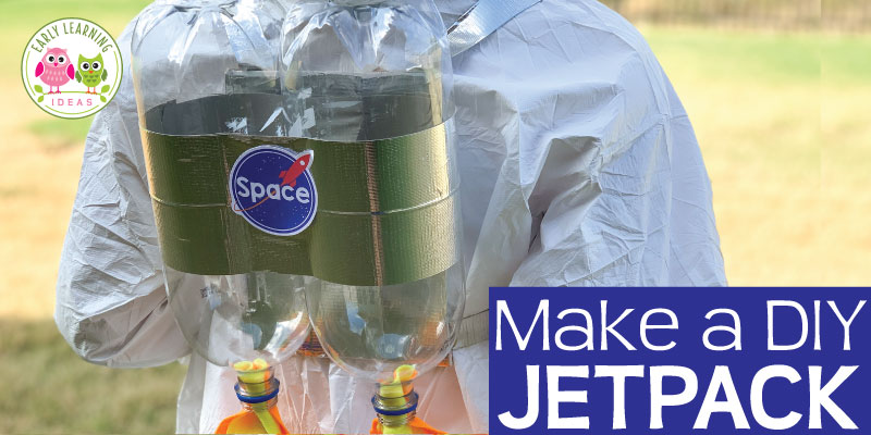 Your little astronauts will have so much fun blasting through space with these jet packs.  Even if you are not crafty, it's super easy to make a DIY jet pack....a perfect addition to your space theme dramatic play area or center. Find the step by step tutorial to help you create this fun addition to your dress up area, astronaut costume, or pretend play area. #preschoolscience #spacetheme #dramaticplay