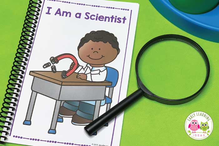 Use this free Scientific Method for Kids printable in your STEM or science center to show your young children that they are scientists. The printables are perfect for your preschool, pre-k, or kindergarten classroom....and they are easy to use Encourage kids to observe, question, make predictions, conduct experiments, record and share their findings. Use on a bulletin board, bind it and create a book, or tape the pages together to make an accordion book or display. #STEM #preschoolscience
