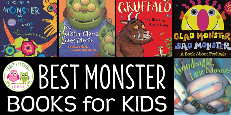 From old favorites to new tales, chick out this list of my favorite monster books for kids. The ideas are the perfect addition to your monster theme or Halloween theme circle time. From Sad Monster Glad Monster, and Go Away Big Green Monster, to Goodnight Monster and Love Monster... your kids will love these fun titles. #monstertheme #preschoolbooksk #preschool #prek