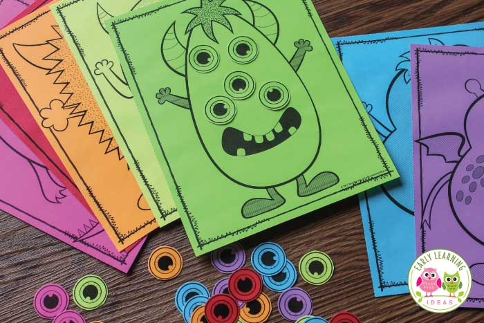 Kids love these fun hands-on monster math activities. Teach color matching, counting, comparing quantities and so much more with these Halloween printables. Perfect for October or any time of year....for a monster theme or with monster feelings. Use as independent or small group activities and games in your #preschool and #prek math centers or math stations. Teach numbers, counting, and numeral recognition, and number skills with this cute set. #monstertheme #halloweenmath #preschoolmath