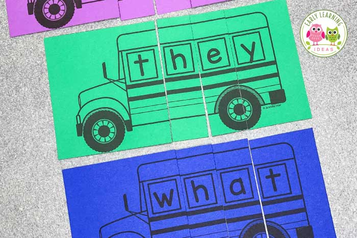 Use these editable school bus name puzzles to work on alphabet recognition and name practice with your kids. Perfect for #preschool #prek and kindergarten in literacy learning centers. Perfect for the beginning of the year, end of the year, or transportation theme unit and lesson plans. Teach kids to spell their name and teach letters and beginning sounds in a fun, meaningful way. #nameactivities #transportationtheme