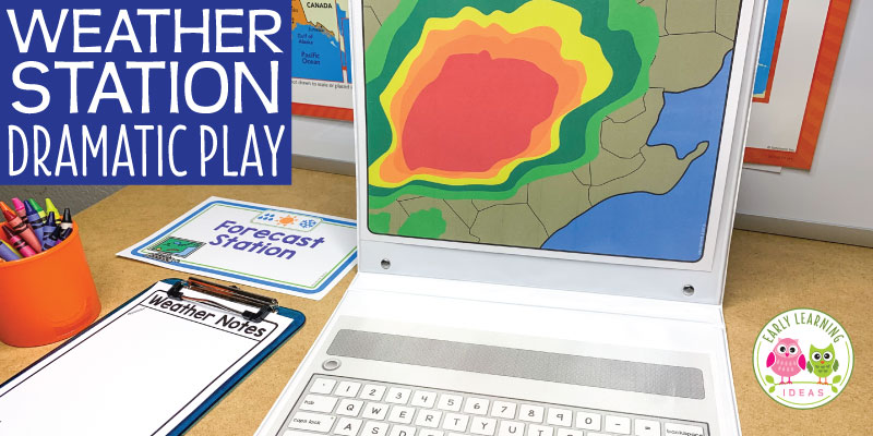 Your kids will have fun learning about the weather when you set up a weather station dramatic play area. Encourage pretend play, math, science, and literacy learning with these ideas and printables. Perfect for a weather theme unit or lesson plans in your #preschool #prek or #kindergarten classroom. Spring, summer, fall & winter ..... use all year (in the science center and at circle time too). Click to get ideas for DIY, props, set up, and experiment ideas. #dramaticplay #learnthroughplay