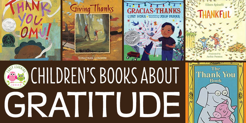 Here is a list of children's books about gratitude. Use these books to talk about being thankful during November, at Thanksgiving and at any time of year. The titles are perfect for reading aloud during circle time or in your classroom library in a #preschool #prek or #kindergarten classroom. #thanksgivingbooks #gratitude