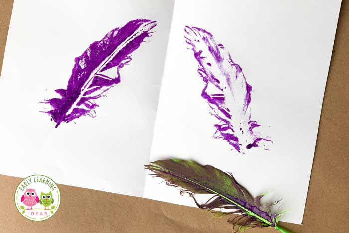 Your kids will love these 5 fun ways to paint with feathers. Spring, summer, fall, winter ... these process art activities are perfect all year or during a study of birds or Thanksgiving turkeys. The feathers provide a great sensory experience and the feather paintings are beautiful. Perfect for your art center in your #preschool and #prek classroom. Check out these ideas today. #processart #preschoolart