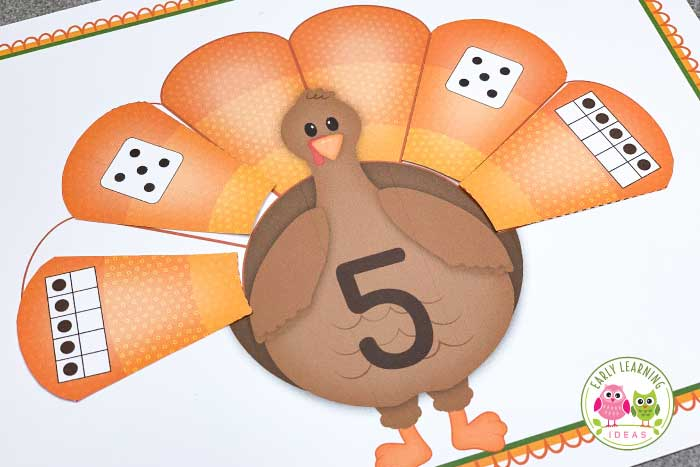 Build number skills with this fun, hands-on turkey math activity. Kids will learn that numbers can be represented in many different ways with this 1-10 #Thanksgiving themed printable. Kids can work on #counting skills, numeral recognition, tally marks, ten frames, subitizing, composing and decomposing numbers. The easily differentiated activity is perfect for your #preschool #prek or #kindergarten classroom and is perfect for your turkey theme or Thanksgiving theme unit or lesson plans.