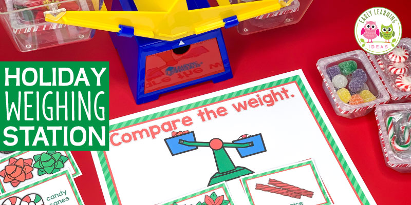 Fill small containers with holiday-themed materials & create a Christmas weight activity for your kids. This balance scale measurement activity includes LOTS of ideas for a fun, hands-on math or STEM center in your classroom. Easily adapt this activity to fit a Christmas theme, gingerbread theme, or winter theme unit or for your December or January lesson plans in a #preschool, #prek, or #kindergarten classroom. #gingerbreadtheme #christmasactivitiesforkids #preschoolmath #christmastheme