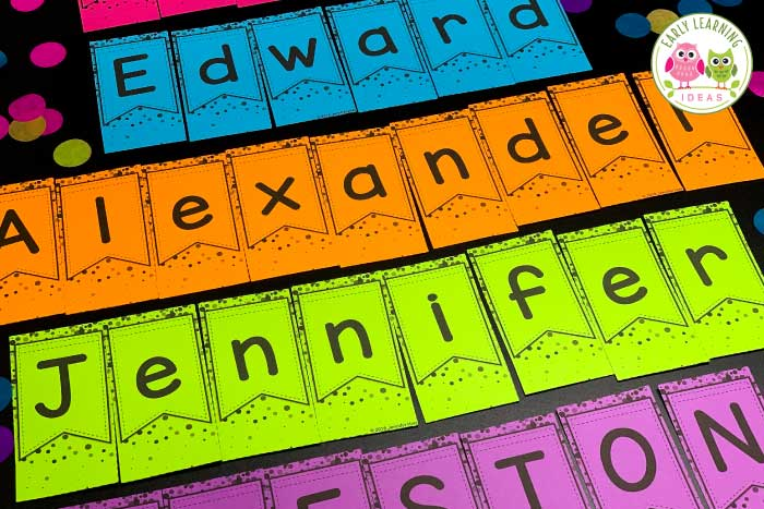 Use these banner and confetti editable name puzzles to work on alphabet recognition, name practice, alphabet, and beginning sound activities with your preschool and prek kids. Use for a New Years, Christmas, or holiday unit and lesson plans in your preschool or pre-k classroom. Use in literacy centers or stations or on bulletin boards.