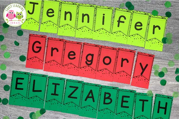 Use these banner and confetti editable name puzzles to work on alphabet recognition, name practice, alphabet, and beginning sound activities with your #preschool and #prek kids. Use for a New Years, Christmas, or holiday unit and lesson plans in your preschool or pre-k classroom. Use in literacy centers or stations or on bulletin boards.