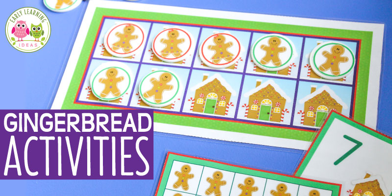 These hands-on gingerbread activities are perfect for literacy and math learning centers for Christmas & the month of December. The printables are easy to prep & are easy to differentiate. The versatile printables can be used in many ways to teach many different concepts in a fun way. Use for independent, small group and whole group activities in #preschool #prek and #kindergarten . Perfect for a #gingerbreadtheme #christmastheme or December units and lesson plans. #gingerbreadactivities