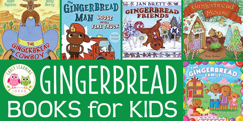 These gingerbread books for #preschool are perfect for little learners.  From the classic tale to fun modern twists, kids love the engaging books on this list. Counting books, rhyming books, classic gingerbread tales, and modern twists...your kids will love these. Perfect for your circle time or class library at Christmas or any time of year. My favorite is the Gingerbread Cowboy. Whivh one is your favorite? #gingerbreadbooks #gingerbreadtheme #christmasactivities #preschoolactivities