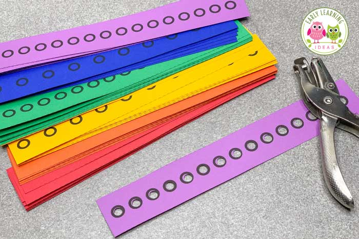 Kids love these hole punch activities. Use the printables to build fine motor skills, for hand strengthening, and to improve hand-eye coordination in a fun and exciting way. Perfect for your preschool, pre-k, kindergarten, special education and occupational therapy classroom. The printables include shapes and many themes and seasonal printables to use during spring, summer, winter, and fall. #finemotor #finemotorskills #preschool