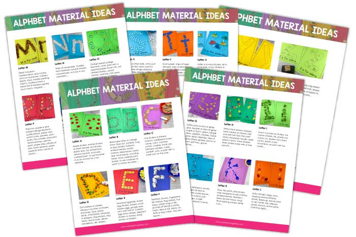 Letter activities like letter collages or letter mats are a great hands-on way to teach letter recognition, formation, & letter-sounds. Here are over 200 material ideas to use for every letter of the alphabet for crafts and activities. A printable list for art and other materials are included. Better than worksheets, these are the perfect fun literacy activity for your preschool and pre-k classroom or lesson plans or for learning at home... a sensory activity that your kids will love!